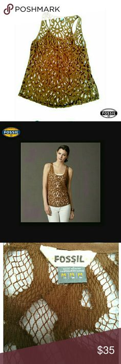 """LACEY FOSSIL MOCHA COLOR LACE  TOP FOSSIL MOCHA COLOR LACE TOP Pre-Loved  / Image for Similarity  *   Size M *   Mocha Brown Color *   Some Stretch *   I Don't Know the Material but Some Stretch *   Approx Meas;            L 25""""           Arm Pit to Arm pit 19.5""""           Arm Opening 11"""" Pls See All Pics. Ask ? If Needed Fossil Tops Tank Tops"""
