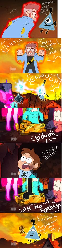 Reverse Weirdmageddon<<<< sorry for the bad word it's just this is gold Reverse Gravity Falls, Gravity Falls Bill Cipher, Gravity Falls Comics, Gravity Falls Au, Reverse Falls, Reverse Pines, Dipper Y Mabel, Will Cipher, Alex Hirsch