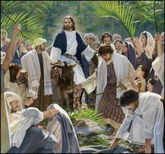 Triumphal Entry by artist Liz Lemon Swindle is just one of the many discounted limited edition fine art prints and canvases for sale at Christ-Centered Art. Pictures Of Christ, Bible Pictures, Catholic Pictures, Lds Art, Bible Art, Arte Lds, Jesus Enters Jerusalem, Liz Lemon Swindle, Psalms
