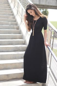 Black Maxi Dress with Sleeves BACK IN BLACK! You're going to love our classic Black Maxi Dress now with sleeves! The amazing fit and basic color makes this dress a must have for the upcoming fall season. Modest Outfits, Modest Fashion, Dress Outfits, Casual Dresses, Maxi Dresses, Modest Clothing, Maxi Skirts, Long Dresses, Black Maxi Dress Outfit Ideas