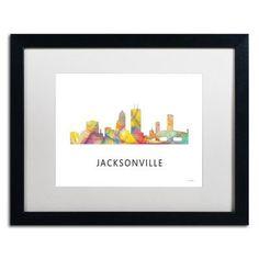 "Trademark Art ""Jacksonville Florida Skyline WB-1"" by Marlene Watson Framed Graphic Art Size: 16"" H x 20"" W x 0.5"" D"
