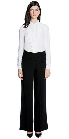 Cue Pants | Crepe Cross Panel Pant | Made from Japanese satin back crepe fabric, Made in Australia