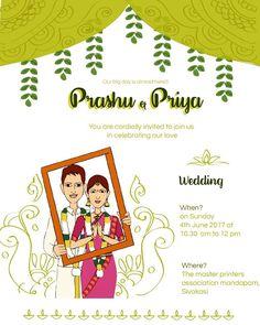 Tamil wedding invitation! Illustrated Wedding Invitations, Indian Wedding Invitation Cards, Engagement Invitation Template, Wedding Invitation Video, Creative Wedding Invitations, Wedding Invitation Design, Invites, Wedding Cards, Wedding Scene