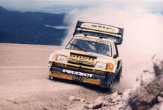 Peugeot 205 in action at the legendary Pikes Peak Hill Climb Sport Cars, Race Cars, 205 Turbo 16, Rally Raid, Motosport, Pikes Peak, Car And Driver, Peugeot 205, Classic Cars