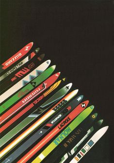 In part 2 of the Vintage Ski Ads Series I chose some that focused in on the skis themselves. When I see skis these days they either look like pop culture threw up all over them or they were designe… Ski Vintage, Vintage Ski Posters, Vintage Winter, Vintage Travel, Alpine Skiing, Snow Skiing, Ski Ski, Ski And Snowboard, Snowboarding