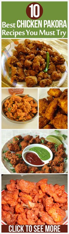 Chicken can be used to make a lot of side and main dishes in various types of cuisines. Here are some popular chicken pakora recipes that you can make at home without creating much fuss Pakora Recipes, Veg Recipes, Curry Recipes, Indian Food Recipes, Asian Recipes, Chicken Recipes, Cooking Recipes, Baked Chicken, Cooking Tips