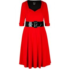 City Chic Miss Vintage Fit & Flare Dress (110 CAD) ❤ liked on Polyvore featuring plus size women's fashion, plus size clothing, plus size dresses, elbow length dresses, red sweetheart neckline dress, red vintage dress, elbow length sleeve dress and vintage dresses