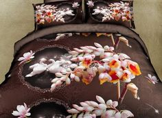 Romantic Swan and Pink Flower 4-Piece Polyester #3D Duvet Cover #bedroom #bedding