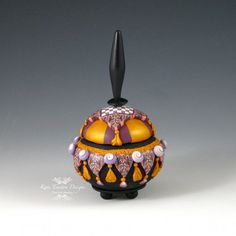 Ottoman Pot 7 Polymer Clay  Gold Purple Pink by KateTractonDesigns, $82.00