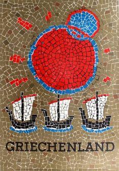 Greece Sail Boats Yachts Mosaic, 1967