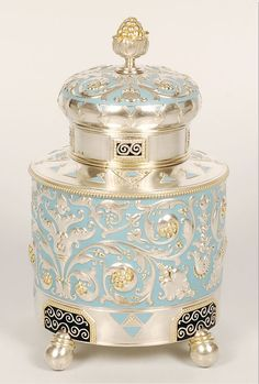 Fabergé silver, parcel-gilt, enamel tea caddy, … | ♥ silver & blue ♥)