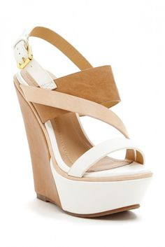 Bring on the summer dresses Elegant Footwear Sannede Two-Tone Wedge Sandal. Not hookerish like some. Love this