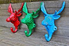 Set of 3 Bright Moose Head cast iron Wall Hook от AquaXpressions
