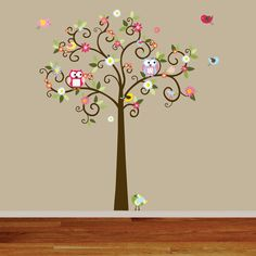 Owl themed nursery tree wall decal.  My heart may explode due to cuteness overload.