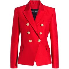 Balmain - Bold-Shoulder-Blazer ($1,835) ❤ liked on Polyvore featuring outerwear, jackets, blazers, blazer, coats & jackets, red, women, slim fit double breasted blazer, balmain and balmain blazer