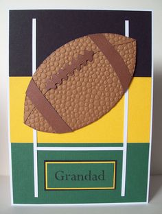 Football or Rugby Ball & Team Colours themed Birthday Card. Handmade & hand crafted. I like to make my own embellishments and a lot of my cards are cut by hand.