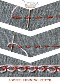 Embroidery Designs Pumora's embroidery stitch lexicon: the looped running stitch tutorial - Learn how to embroider with the lexicon of embroidery stitches. Step by step tutorials on how to do the running stitch and it's variations. Embroidery Designs, Crewel Embroidery Kits, Embroidery Stitches Tutorial, Sewing Stitches, Silk Ribbon Embroidery, Learn Embroidery, Embroidery Techniques, Embroidery Thread, Cross Stitch Embroidery