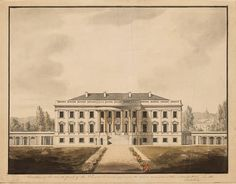 Vintage photo of the White House in 1817,after being rebuilt after the 1814 fire with porticos on both sides.