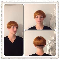 Interesting bowl cut with bangs and what looks like a stacked fringe at the… Shaved Bob, Shaved Nape, Stacked Bob Hairstyles, Braided Hairstyles, Cool Hairstyles, One Length Bobs, Mushroom Hair, Short Bob Styles, Bowl Haircuts