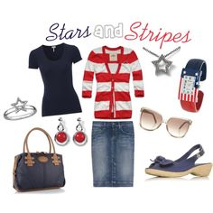 Stars and Stripes, created by #beffandbuff on #polyvore. #fashion #style Hollister Co. #Splendid