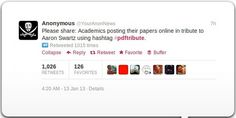 Academics posting their papers online in tribute to Aaron Swartz using hashtag #pdftribute ➤ http://gizmodo.com/5975543/academics-are-tweeting-out-pdfs-of-journal-articles-in-memory-of-aaron-swartz - Gizmodo - 2013 01 13