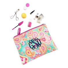 Monogram Summer Paisley Bag Monogram Cosmetics Bag Monogram Accessory... ($15) ❤ liked on Polyvore featuring beauty products, beauty accessories, bags & cases, red, swimwear, women's clothing, wash bag, make up purse, makeup purse and purse makeup bag