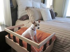 SALE PRICE  Standard Wooden Pet Bed-  Height of standard box springs and mattress. $299.00, via Etsy.