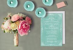 mint green wedding invitations by therocheshop | http://emmalinebride.com/invites/best-invitations-weddings/