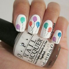 birthday nails - Balloons nail art design (polish used at link) - Birthday Nail Art, Birthday Nail Designs, Birthday Design, Cute Easy Nail Designs, Nail Art Designs, Nails Design, Cute Simple Nails, Cute Nails, Fabulous Nails