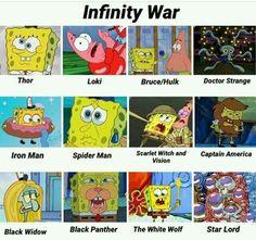 Infinity War as told by SpongeBob Funny Marvel Memes, Dc Memes, Avengers Memes, Marvel Jokes, Avengers Imagines, Marvel Dc Comics, Marvel Avengers, Spongebob Memes, Loki Thor