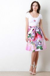 Floral Taffeta Bow Pleated Midi Skirt