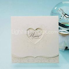 Simple Tri-fold Wedding Invitation With Heart Cutout (Set of 50)