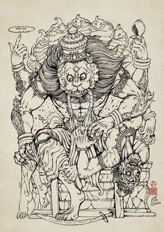 Narasimha drawing version. Narasimha kill demon Hiraṇyakaśipu. Lord Vishnu avatar.