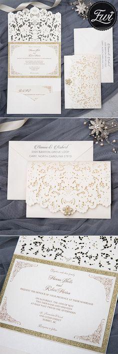 formal elegant ivory and gold glittery pocket wedding invitations with pearl EWWS226 #weddinginvitations #elegantweddinginvitations