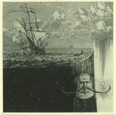 "Konstantin Kalynovych - ""End Of Sentimental Voyage""  Etching, mezzotint, dry point, 12x12cm, 2005"