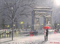 PETE RUMNEY FINE ART ORIGINAL OIL ACRYLIC PAINTING PARIS WINTER SNOW LOVE RED NR in Art, Artists (Self-Representing), Paintings | eBay