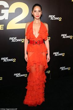 Spanish inspired: Olivia Munn wore a revealing flamenco inspired gown at the world premiere of Ride Along 2 in Miami on Wednesday