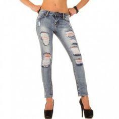 Skinny dames jeans scheuren met sexy scheuren blauw