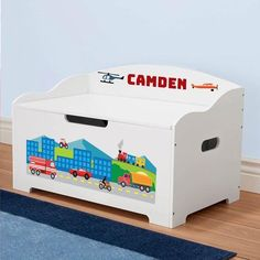 DIBSIES Personalization Station Foldable Toy Box Cushion Blue Stars
