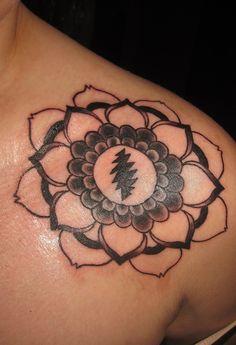 Gd tattoo, lotus tattoo, get a tattoo, mandala tattoo, greatful dead tattoo Gd Tattoo, Lotus Tattoo, Cover Tattoo, Mandala Tattoo, Get A Tattoo, New Tattoos, Sleeve Tattoos, Cool Tattoos, Tatoos
