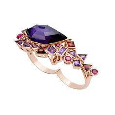 Stephen Webster Gold Struck ring in rose gold with coloured gemstones.
