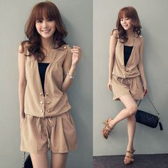 2013 Korean Style New fashion Women Double Buttons Rompers Women Ladyies Dress Lady Dress Skirt for Summer Time Price    US $ 9.90