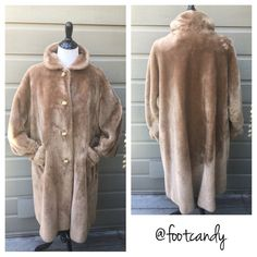 "| vintage | 1950 Borgana Kraeton Tan Faux Fur Coat 1950's 'Borgana Kraeton' Tan Faux Fur Coat with Apricot Lining Brand: Borgana Kraeton Material:  100% Faux Fur 'A Borg Fabric' Size: L-XL (roomy M) Color: Tan/Camel/Caramel  Bust: 42-46""  Sleeve (uncuffed): 24""  Back Length (shoulder to hem): 40"" Item is vintage/used...please remember to launder, clean or freshen. Professional Dry Clean by 'Fur Coat Method' ONLY  CLOSET RULES: No PayPal. No Holds. No Trades. Reasonable offers through offer…"