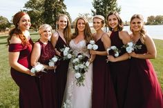 Wine and white cascading brides bouquet perfect for a fall wedding Burgundy Wedding Flowers, Cheap Wedding Flowers, Fall Wedding Bouquets, Bride Bouquets, Budget Bride, Bridesmaid Dresses, Wedding Dresses, Wedding Planning, Flower Ideas