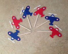 12 Airplane cupcake toppers for birthdays by MyBabyShowerBoutique