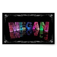The Name Megan in 3D Lights (Photograph) Rectangular Sticker