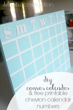 DIY Canvas Calendar & Free Printable Calendar Numbers! - Delicate Construction