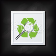 Recycling Arrow and Magnifying Glass On A Square Blackboard Icon royalty-free stock vector art