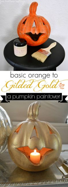 Glam up those ho-hum pumpkins with a quick swish of your paint brush! #gold #pumpkin