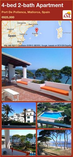 Apartment for Sale in Port De Pollenca, Mallorca, Spain with 4 bedrooms, 2 bathrooms - A Spanish Life Barcelona, Murcia, Apartments For Sale, Second Floor, Terrace, Swimming Pools, Travelling, Madrid, Bathrooms
